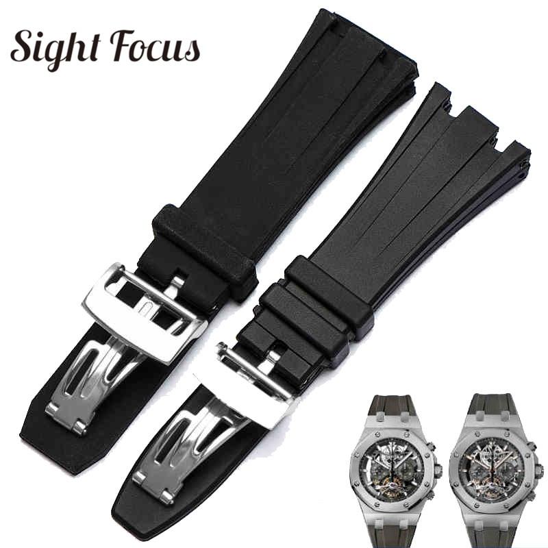 цена на 26mm 28mm High Quality Watch Band for Audemars Piguet Watch Strap for AP Royal Oak Belt Black Replacement Straps Sport Bracelet