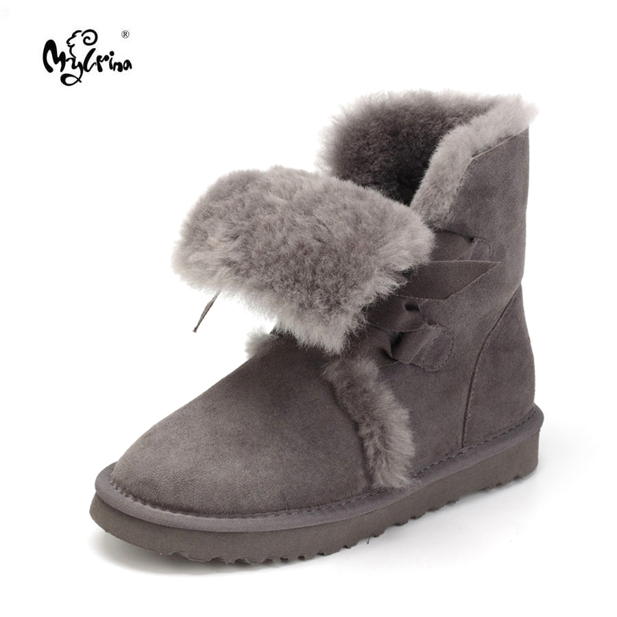 New Fashion Women Snow Boots Genuine Sheepskin Leather Women Boots Natural Fur Non-Slip Winter Boots Warm Wool Women Shoes coolsa new 100% natural fur women boots genuine sheepskin ankle boots winter boots warm wool snow boots women slip on flat shoes