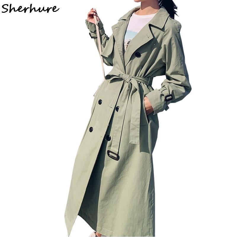 2019 Autumn Women Long Trench Coat With Belt Turn Down Collar Women Clothes Long Coat Casaco Feminino Abrigo Mujer Trench Femme