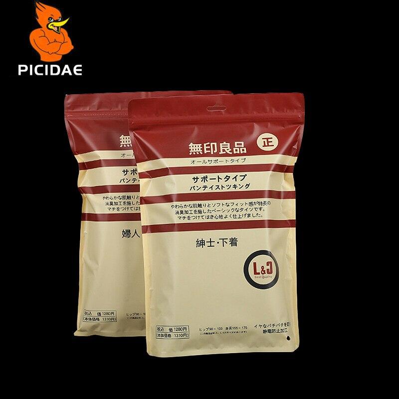 Impressão a cores Janela Ziplock Saco de Embalagens de Plástico com Zíper Cadeia Dois Lados Roupas Osso Osso Calcinha Banho Toalha Cueca Meia