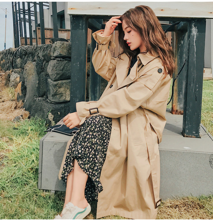 HTB1sMDsLHvpK1RjSZPiq6zmwXXaP Fashion Brand New Women Trench Coat Long Double-Breasted Belt Blue Khaki Lady Clothes Autumn Spring Outerwear Oversize Quality