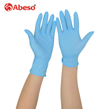 ABESO 100 pcs/ box NBR latex Electronic disposable gloves for food home cleaning Acid Alkali resistance antiskid golves A7100