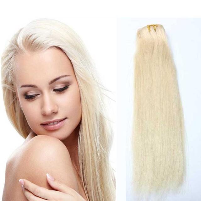 Grau 7A Virgem de 100% Em Linha Reta #613 Clipe Loira Em Extensões de Cabelo Humano 120G Clipe Em Remy Extensões de cabelo para Cabeça cheia