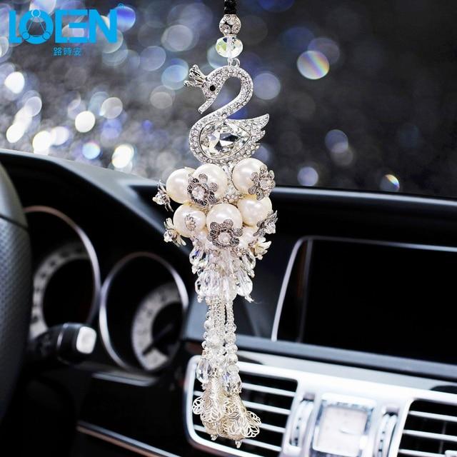 Loen Crystal Swan Pendant Car Ornaments Decoration Auto Car Styling