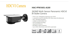 Free Shipping DAHUA 4K 3X2MP Multi-Sensor Panoramic HDCVI IR-Bullet Camera Without Logo HAC-PFW3601-A180