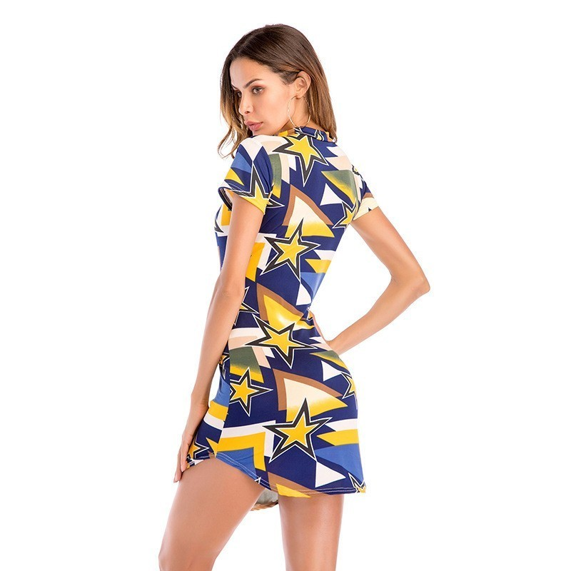Hanging Neck Halter Short Sleeve Summer Dress Women Print V neck Sexy Bodycon Dress Casual Slim Wrap Mini Party Beach Dresses in Dresses from Women 39 s Clothing