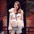 Fox Fur Collar Australia Merino Sheep Real Leather Short Coat Women Leather Sheepskin Coats,Women Sheep Fur Coat 2016 New Style