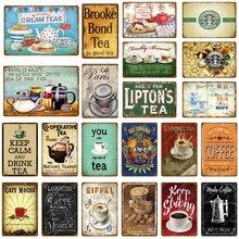 Классическое кафе мокко металлическая жестяная вывеска напиток чай кофе винтажный плакат на стену тарелка для бара кухонное украшение для дома художественная Настенная Наклейка