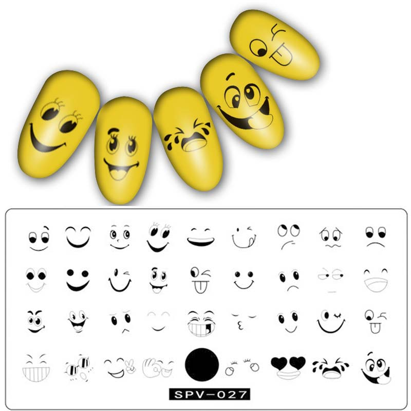 Major Dijit 1Pc smile Pattern Nail Stamping Plates Plant Nail Art Stamp Image Template Manicure Stencils Nail Decoration