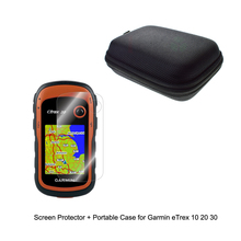 Outdoor Traveling Protect Portable Case Bag +Clear Screen Protector Shield Film for Garmin GPS Edge eTrex 10 20 30 10x 20x 30x