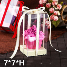 10 PCS 2019 New arrival 7*7*Hcm  Clear PVC Cute Cup Cake display&Packaging box Birthday&Wedding Souvenir Mother Day Gift