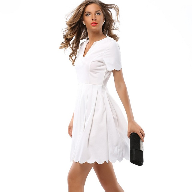 da9efd4351a5 Sexy Women Short Party Dress Fashion White Summer Dress V-Neck Casual  Dresses Above Knee Vestidos Red Chiffon