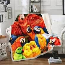 Plstar Cosmos colorful Parrot brid Blanket 3D print Sherpa on Bed Kids Girl Flower Home Textiles Dreamlike style-2