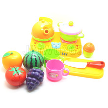 Play House Toys Pots Watermelon And Pans Knife Kitchenware For Children Kids