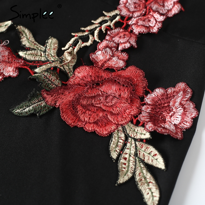 Simplee Sexy mesh embroidery short dress Women slim flower pathwork bodycon dress Black hollow out party summer dress 2017