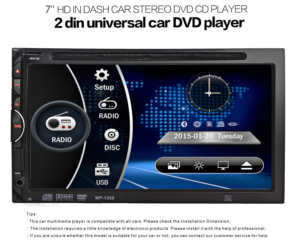 universal 2 din car stereo dvd cd player 7 inch touch. Black Bedroom Furniture Sets. Home Design Ideas