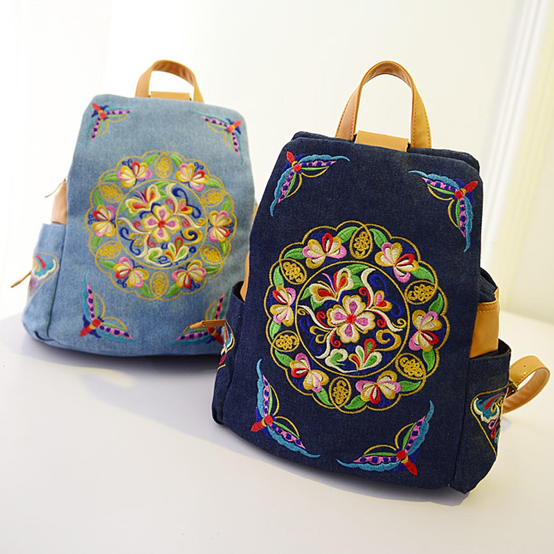National Trend Canvas Embroidery Ethnic Backpack Women Handmade Flower Embroidered Bag Travel Bags Schoolbag Backpacks Mochila