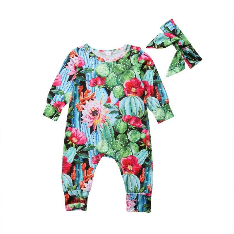 2 Stücke Neugeborenen Baby Junge Mädchen Langarm Blumen Kaktus Strampler Overall Overall Stirnband Outfits Baby Kleidung