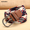 new 39 -color stretch woven elastic belt wholesale woman belt canvas belt male casual jeans belt