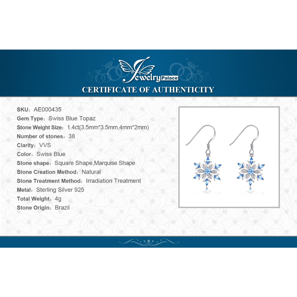 Jewelrypalace Snowflake 1,4ct Genuine Swiss Blue Topaz Dangle - Wykwintna biżuteria - Zdjęcie 6