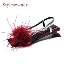 Stylesowner wine red feather buckle strap women sandals open toe slip on strange heel fashion summer shoes mujer zapatos size 41 luchfive women sandals 2018 summer fashion open toe ankle buckle strap chunky high heels rose red black shoes zapatos mujer