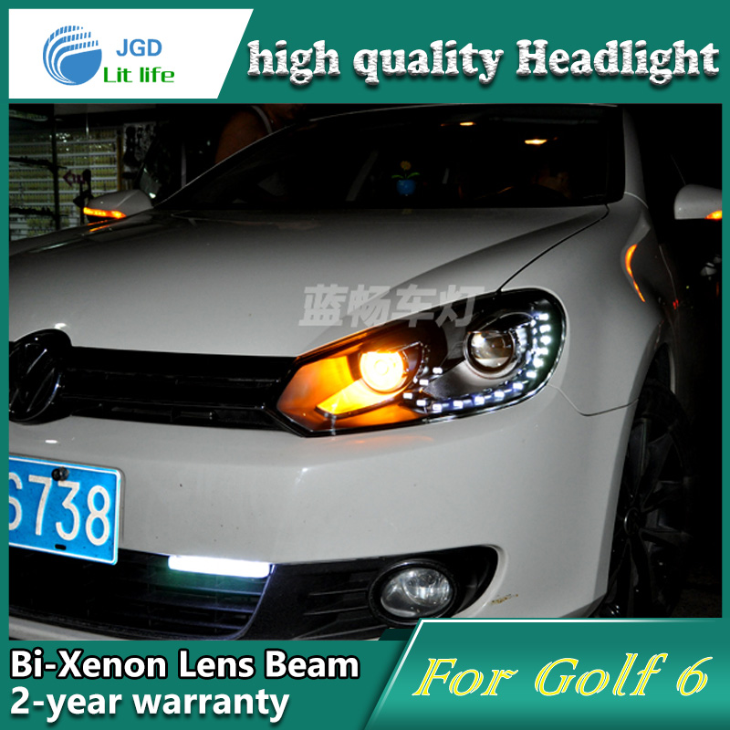 high quality Car Styling Head Lamp case for VW Golf 6 Golf6 LED Headlight DRL Daytime Running Light Bi-Xenon HID Accessories 2011 2013 vw golf6 daytime light free ship led vw golf6 fog light 2ps set vw golf 6