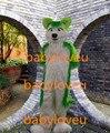 Новый высокое качество лиса фурсьют зеленый хаски фурсьют Костюм Талисмана Роскошный Лиса Собака плюшевые Размер Взрослых Хэллоуин Костюмы партии