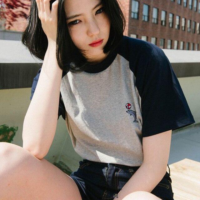 Fashion Blusas 2017 Summer Style Tee Shirts Korea Ulzzang Harajuku Dolphin Embroidered Short Sleeved T Shirt Women Casual Tops