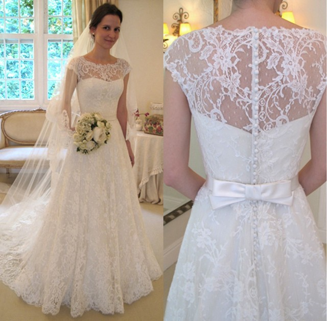 Custom Made Wanda Borges Wedding Dresses Cap Sleeve Illusion ...