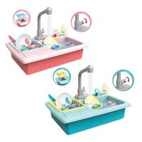 1Set Plastic Simulation Electric Dishwasher Sink Pretend Play Kitchen Toys Kids Puzzle Early Education Toy Birthday Gifts