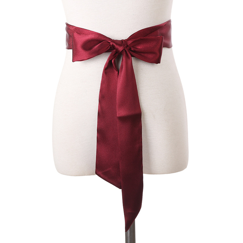 Silk Ribbon Pure Color Dress Chiffon Super Scarf Lady Bow Belt Fajas Fajas Reductoras De Barriga Super Long Multi-function Belt