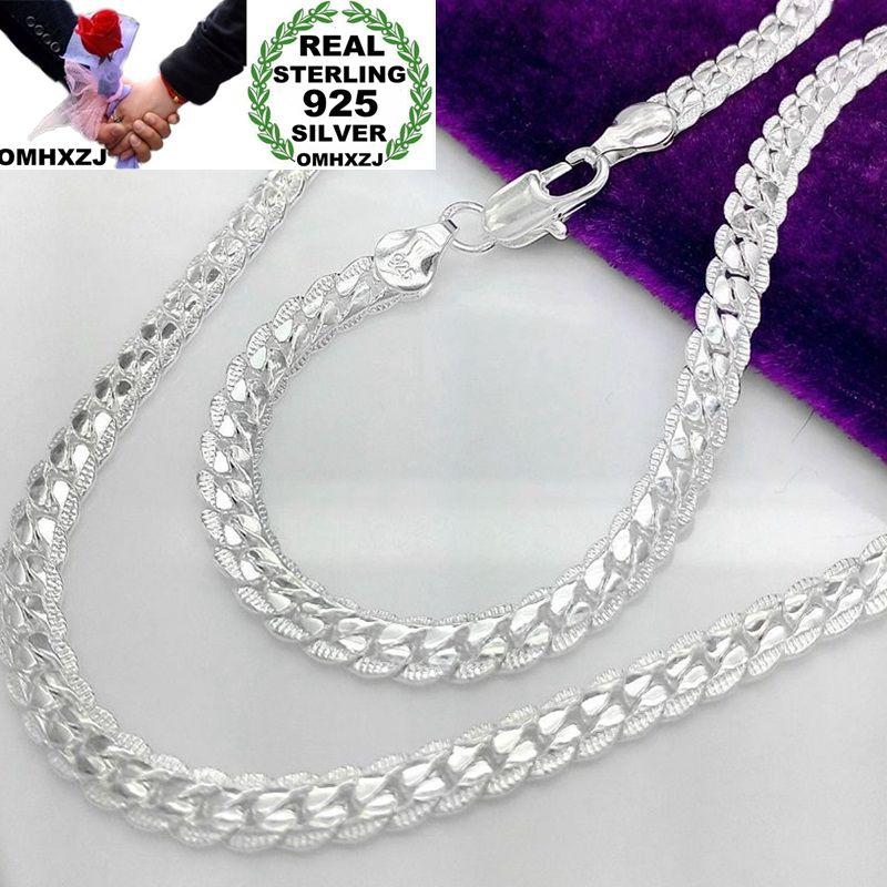 OMHXZJ Großhandel Europäischen Mode Frau Mann Party Hochzeit Geschenk Volle Seitlichen Silber 925 Sterling Silber Kette Halskette NA189
