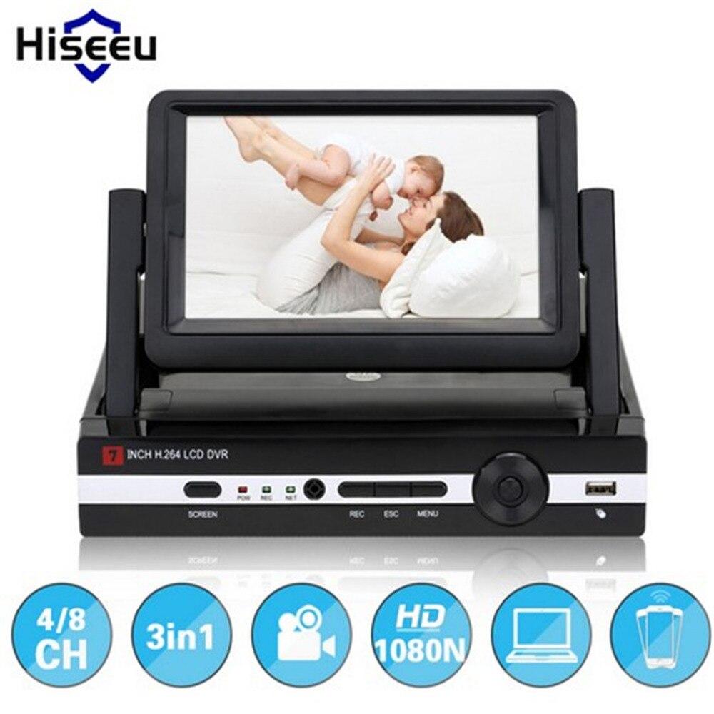 Hiseeu 2.0MP CCTV Camera 1080N 8 Channel 8CH Surveillance Video Recorder 7 LCD Screen Hybrid DVR HVR NVR Home Security System