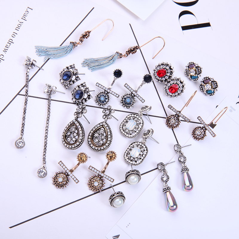 KISS ME Different Styles Vintage Earring for Women Collections Crystal Geometric Water Drop Earrings Fashion Jewelry Brincos