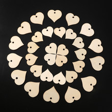 100pcs Mixed Size Heart Shaped Wood Slices Party Supplies For Wedding Embellishments DIY Arts Crafts Card Making With 10M Twine(China)