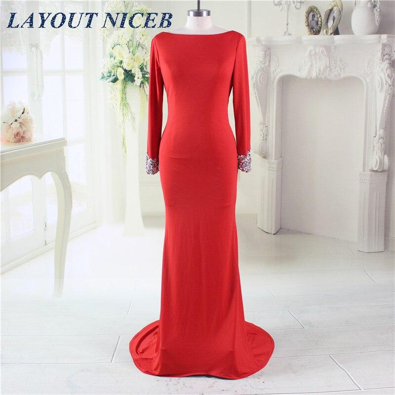 Robe de soirée sirène rouge perles strass manches longues robes de soirée dos ouvert robe de soirée Abendkleide 2019 abiye gece elbisesi