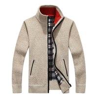 Мужской новый модный брендовый теплый кардиган на молнии, куртка, свитер, тонкий Однотонный свитер с длинными рукавами, обычный свитер с вор...