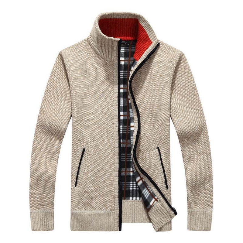 Men's New Fashion Brand Warm Zipper Cardigan Jacket Sweater Slim Long-sleeved Solid Color Regular Turtleneck Sweater For Men