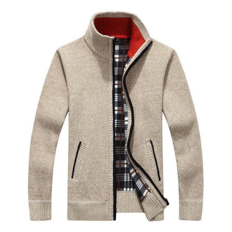Men's New Fashion Brand Warm Zipper Cardigan Jacket Sweater Slim Long-sleeved Solid Color Regular Turtleneck Sweater For Men