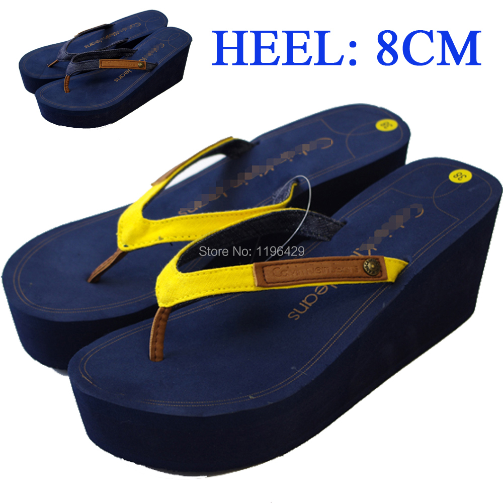 EVA soft insole Summer slippers platform shoes flip flops wedges high heel summer beach sandals high-heeled - Honair Mart store