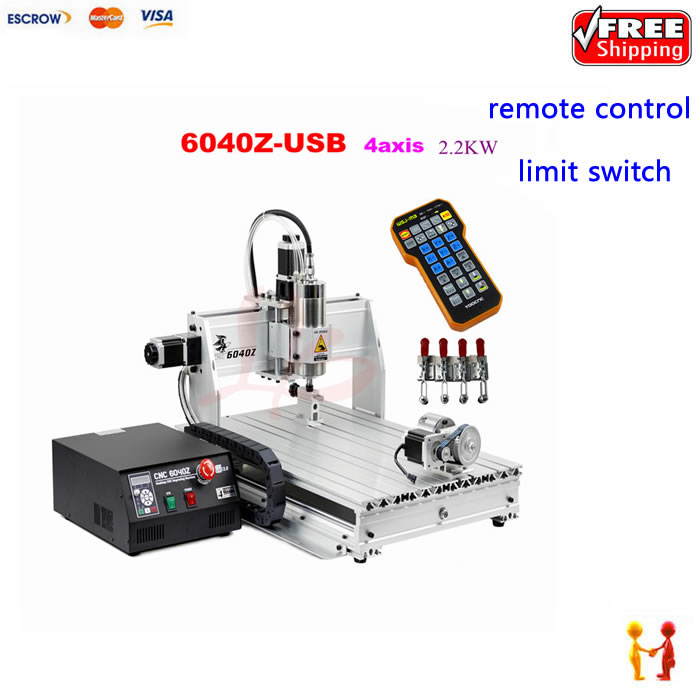Best quality andhigh power metal engraving machine 6040 2.2kw water cooling spindle with with mach3 r