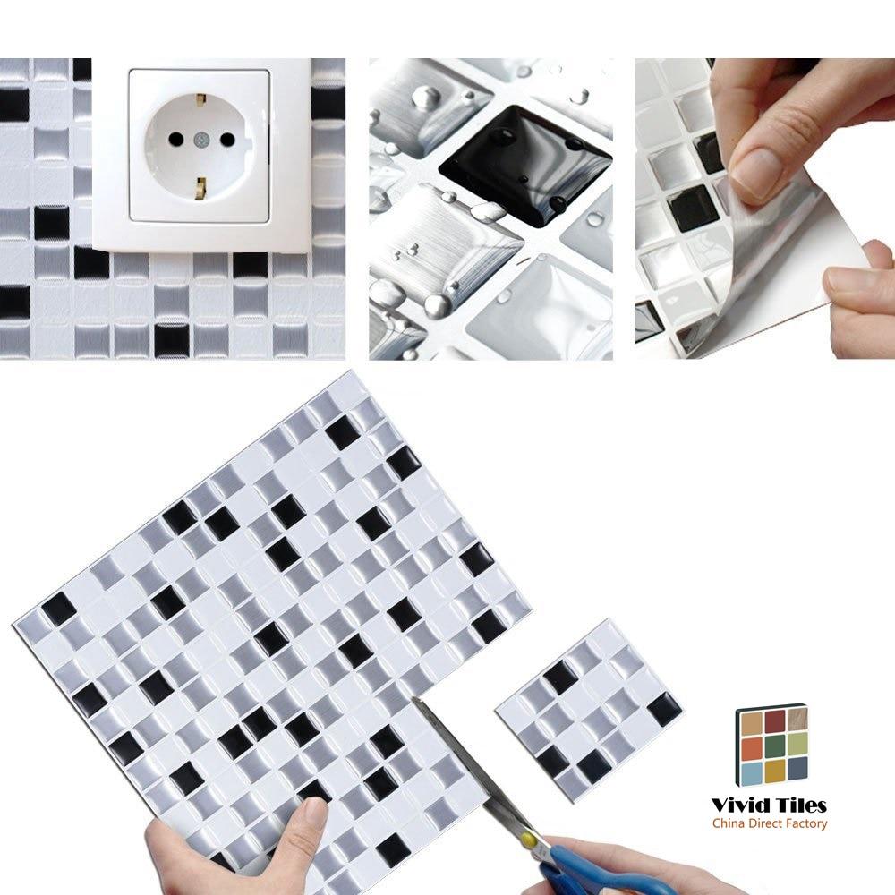Vividtiles Interior Decor Vinyl Self Adhesive Wallpaper 3d Peel And Stick Square Mosaic Tiles 1 Sheet