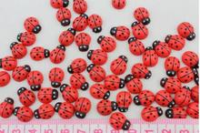 20 pcs Mini Self adhesive red ladybug Kids LADYBUG birthday party invitation cards decorate  BEADS hand craft wood confetti