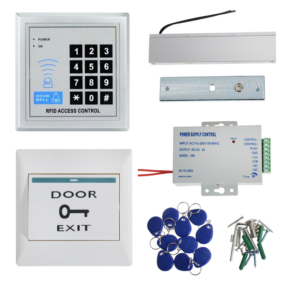 RFID Door Access Control System Remote Control Electric Strike Lock Kit Set with Electric Strike Lock+Remote control+Door bell free shipping 3000users full access control system kit set with electric strike lock remote control door bell power exit keypad