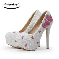 BaoYaFang New White pearl deads Womens Wedding shoes Bride High heels party dress shoes High platform Lovers Heart Bridal shoe