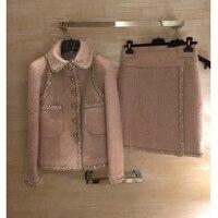 Удивительный комплект из двух предметов женская зимняя куртка и комплект с юбкой, большие размеры Tweet топ и юбка элегантный Mujer Completo 5XL 6XL шер