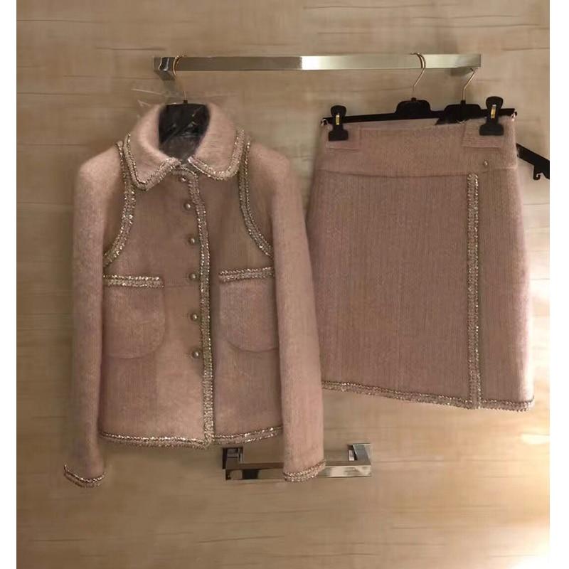 Incredibile a due pezzi set inverno delle donne giacca e gonna set, plus size tweet top e gonna elegante mujer completo 5xl 6xl cappotto di lana