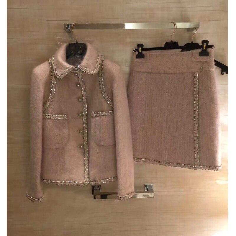 Incroyable deux pièces ensemble femmes hiver veste et jupe ensemble, plus la taille tweet top et jupe élégante mujer completo 5xl 6xl laine manteau