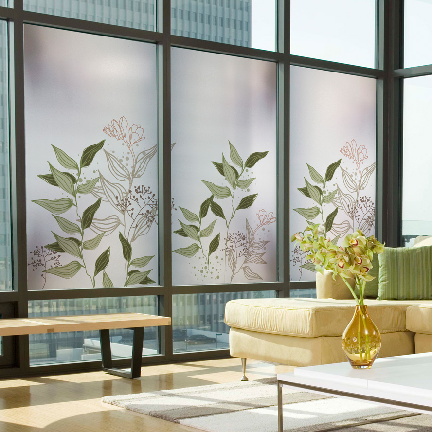 Translucent Window Film Us 21 Electrostatic Frosted Translucent Window Film Decorative Green Leaves Glass Stickers 60x100cm In Decorative Films From Home Garden On