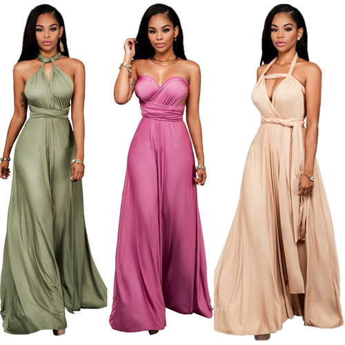 High Quality Fashion Women Party Dress Sexy Halter Ladies Backless Long Dress Off Shoulder Various Ways To Wear Clubwear Dresses